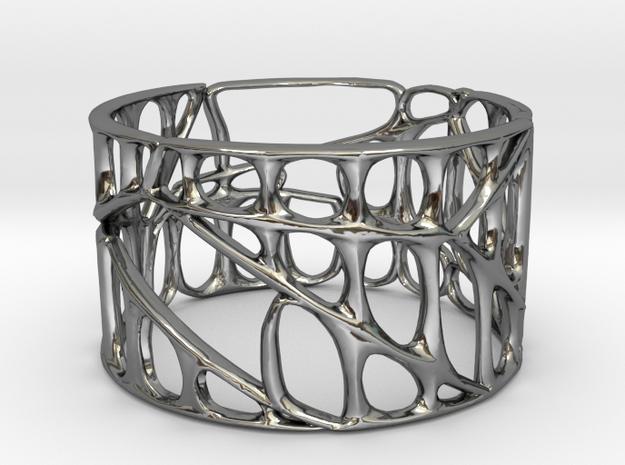 Voronoi Bracelet 65mm X 40mm (001a) in Premium Silver