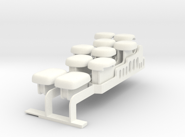 Top-four notes set for Drop-on Jankó Piano Adaptor in White Processed Versatile Plastic