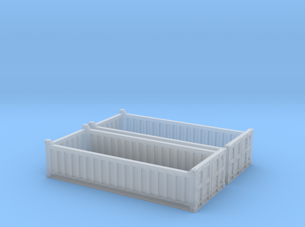 N Scale 20ft Open Top Container Half Height (2 pc