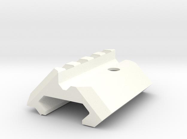 Angled Picatinny Rail 45 deg in White Processed Versatile Plastic