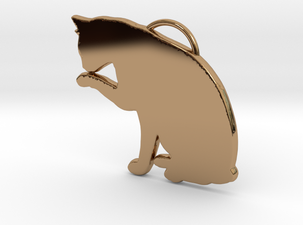 Cat Licking in Polished Brass