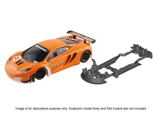 S09-ST3 Chassis for Scalextric McLaren GT3 SSD/LMP in White Processed Versatile Plastic