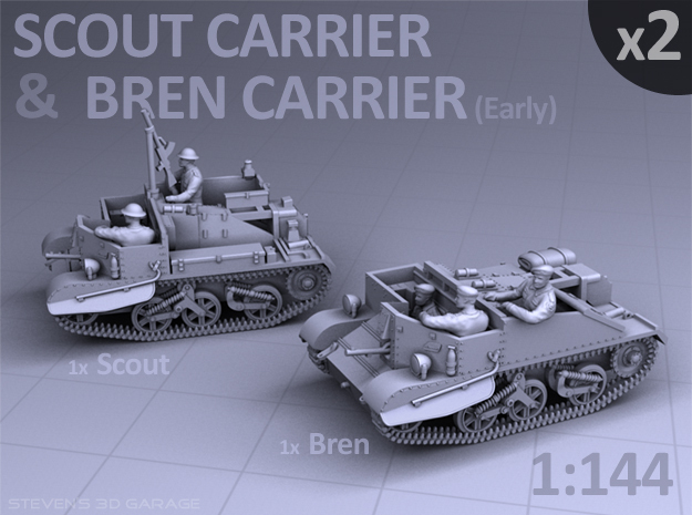 Scout and Bren Carrier  (2 pack) in Smooth Fine Detail Plastic
