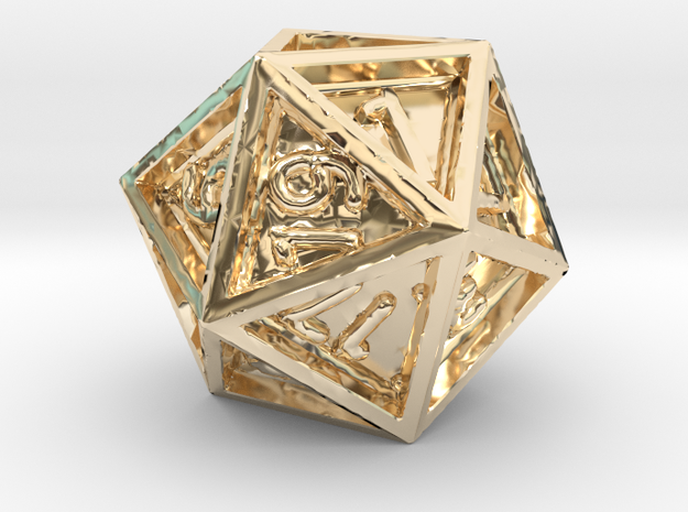 Dice: D20 in 14K Yellow Gold