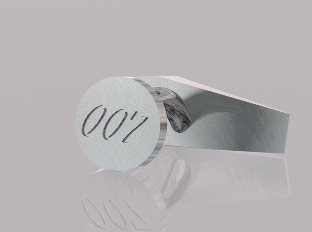 007 Cufflinks with inscription 3d printed render showing 007 on base