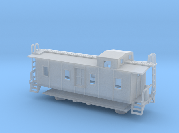 Illinois Central Side Door Caboose - Nscale in Frosted Ultra Detail