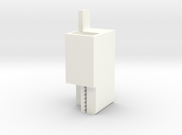 Carriage Plate-Belt Connector V1 in White Strong & Flexible Polished