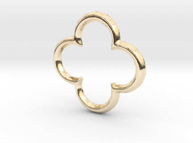 Quatrefoil Pendant/Charm - 16mm in 14K Yellow Gold