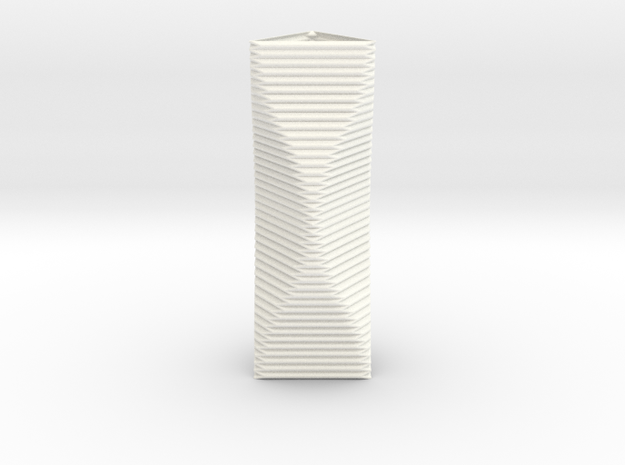 Curved Structure Long Column - Rigid Accordion in White Processed Versatile Plastic