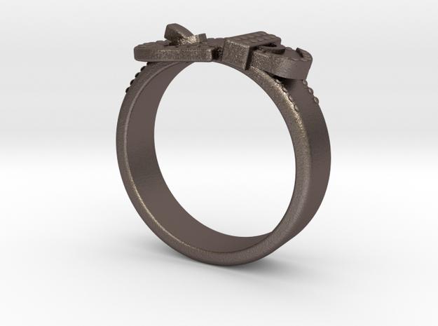 Western Belt Buckle Ring in Polished Bronzed Silver Steel