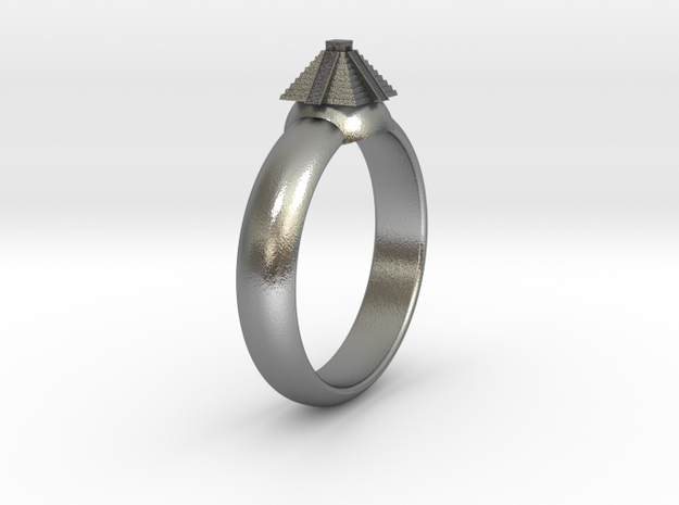 Ø0.788 inch/Ø20.02 mm Azteken Temple Ring in Natural Silver