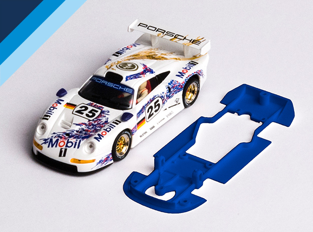 1/32 Fly Porsche 911 GT1 Chassis for slot.it pod in Blue Processed Versatile Plastic