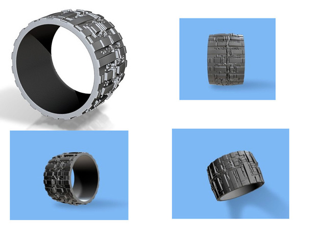 Bio Mech Ring #2, Thick 3mm, Ring Size 12 3d printed