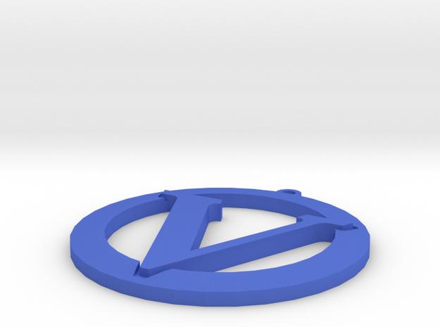 Vegan Symbol in Blue Processed Versatile Plastic