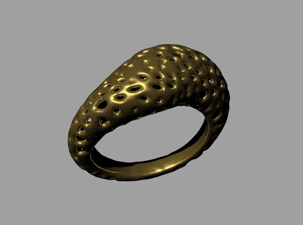Volcanic stone ring   in Natural Brass: 8.5 / 58