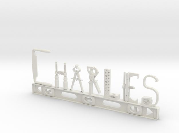 Charles Nametag in White Natural Versatile Plastic