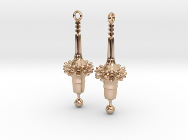 Diatom Earrings in 14k Rose Gold Plated Brass