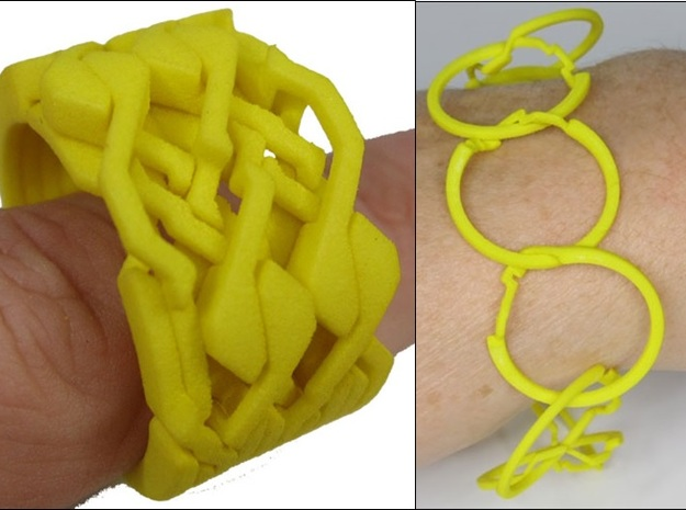 Ring Bracelet in White Processed Versatile Plastic