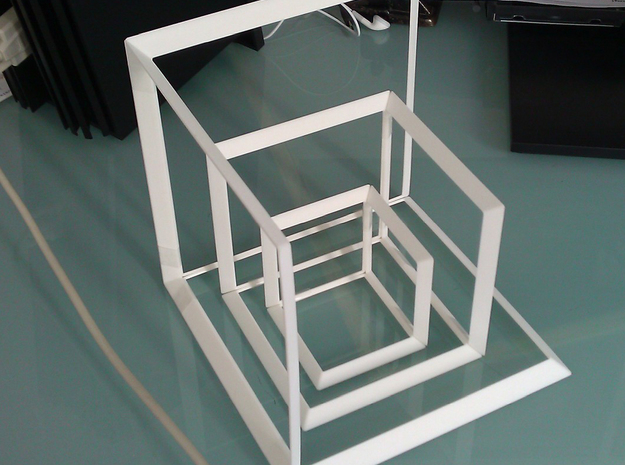 45 Hypercubes Pyramid4 3d printed Prototype White Strong Flexible