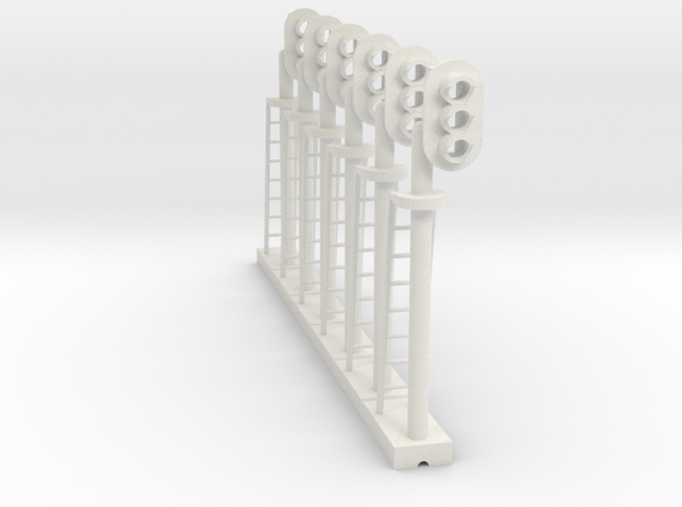 Block Signal 3 Light RH (Qty 6) - HO 87:1 Scale in White Natural Versatile Plastic