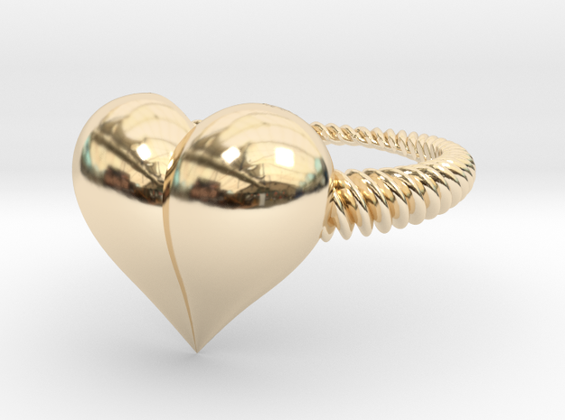Size 6 Heart Ring in 14k Gold Plated Brass