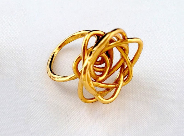 Sprouted Spiral Ring (Size 9) 3d printed Gold Plated Brass