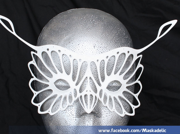 Party Mask 'Hoots' in White Natural Versatile Plastic