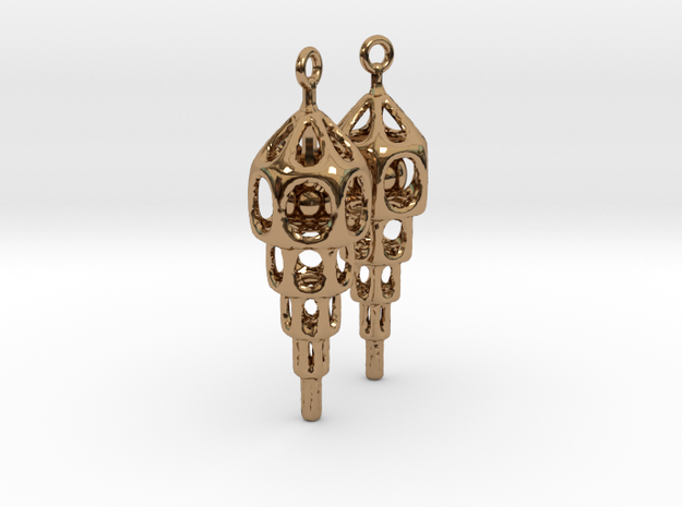 Skeleton Ziggurat Earrings 2 in Polished Brass