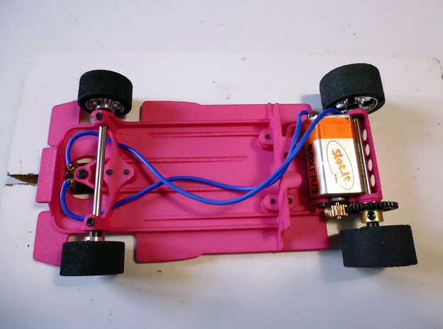 Slot car chassis for 787B 1/28 in Pink Processed Versatile Plastic