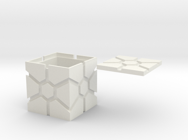 Hex-faced Iconic Box in White Natural Versatile Plastic