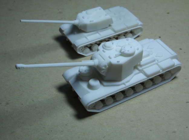 1/100 KVS 3d printed Leviathans of Lévagrad: KVS and SIU-13 are both armed with the feared 125-mm cannon, normally used as long-range artillery.
