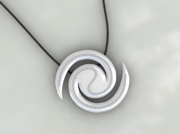 Galaxy Pendant 3d printed Plastic (White)