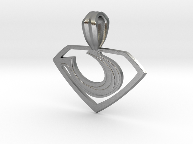 Zod Pendant - Small in Natural Silver