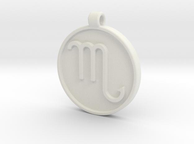 Zodiac KeyChain Medallion-SCORPIO in White Natural Versatile Plastic