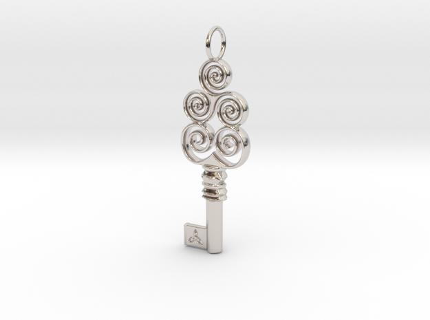 Friggjarlykill #4a  - Key of Frigg in Rhodium Plated Brass