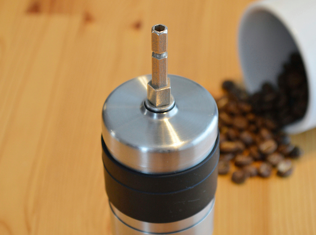 Coffee Grinder Bit For Drill Driver CDP-LRE in Polished Bronzed Silver Steel