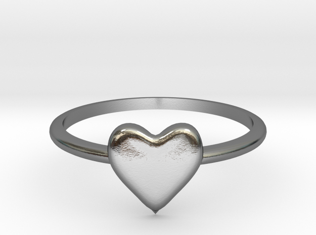 Heart-ring-solid-size-5 in Polished Silver
