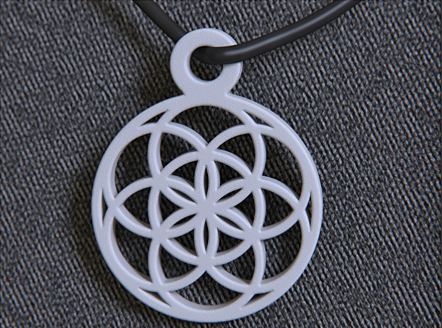 Seed Of Life Pendant in White Processed Versatile Plastic