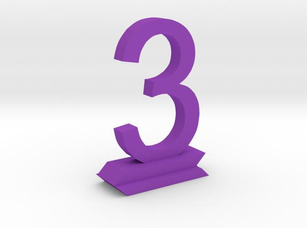Table Number 3 in Purple Processed Versatile Plastic