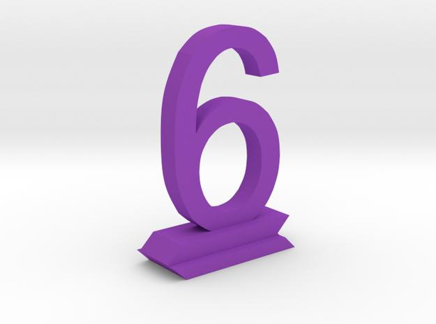 Table Number 6 in Purple Processed Versatile Plastic