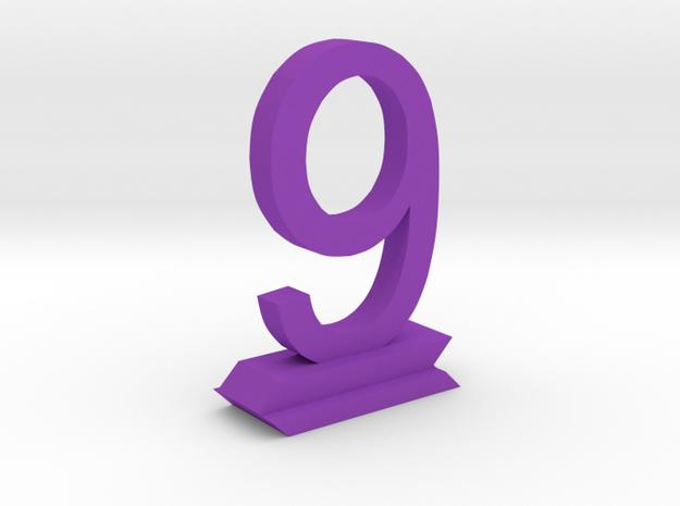Table Number 9 in Purple Processed Versatile Plastic