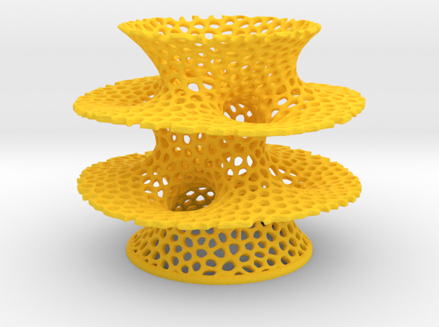 Voronoi Costa Vase in Yellow Processed Versatile Plastic