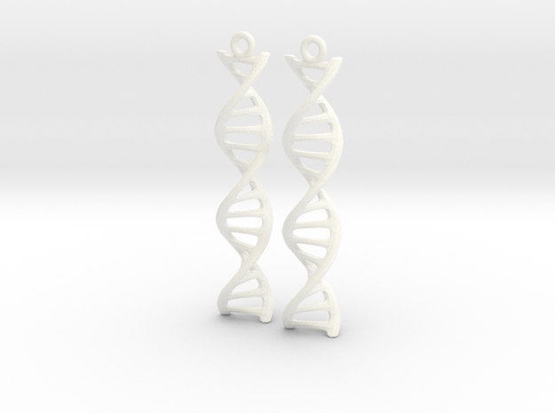 DNA Earrings in White Processed Versatile Plastic