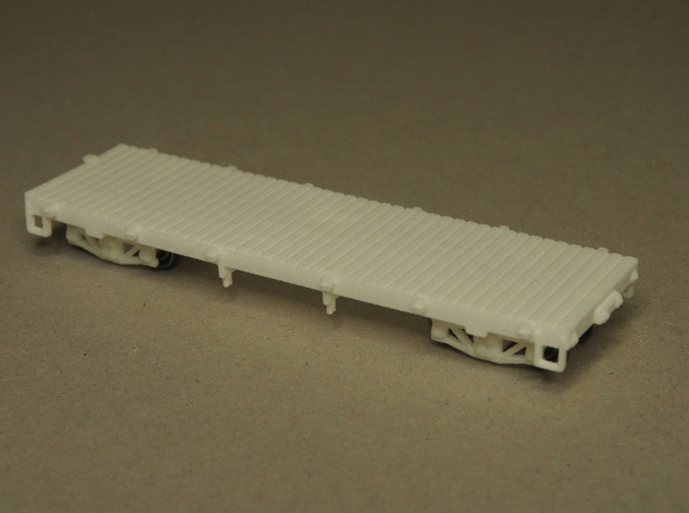 HOn30 25 foot Flatcar without stakes in White Natural Versatile Plastic