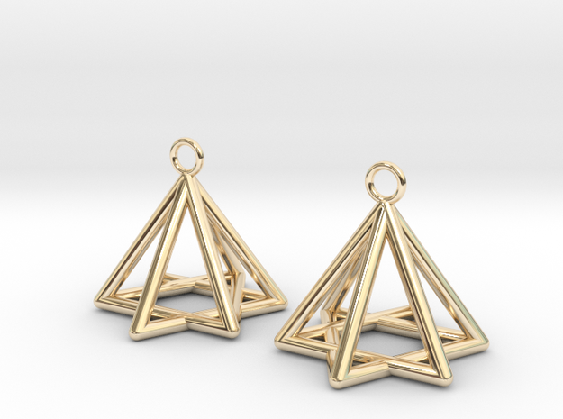 Pyramid triangle earrings type 13 in 14k Gold Plated Brass