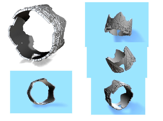 Cloud Ships 2, Ring Size 10 3d printed