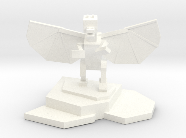 Ender Dragon Statue in White Strong & Flexible Polished