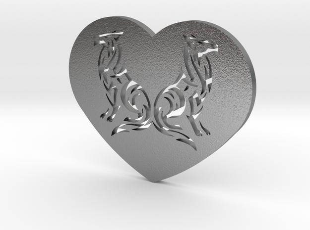 Geri and Freki Heart in Raw Silver