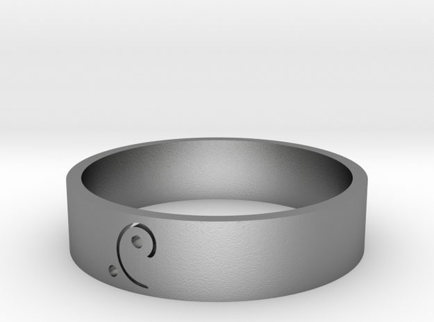 Moon-glyph-energy-ring in Natural Silver