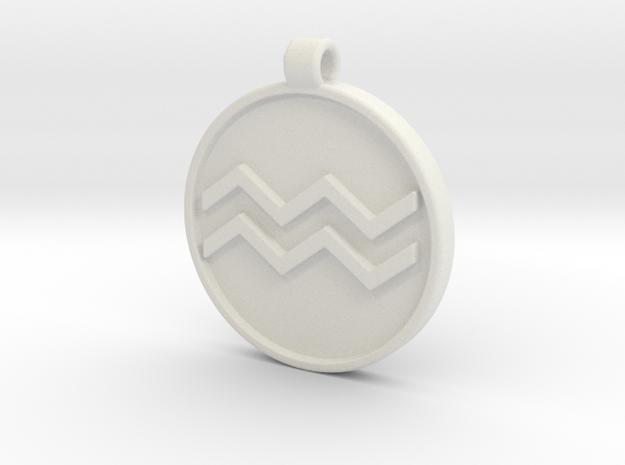 Zodiac KeyChain Medallion-AQUARIUS in White Natural Versatile Plastic